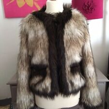 Lanvin H&M short beige faux fur jacket jewel buttons UK14 sold out bloggers fav