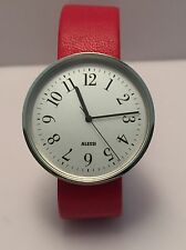 Alessi Men's Record AL604 Stainless Steel Red Leather Strap Designer Castiglioni