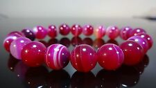 "Genuine Magenta Banded Agate Bead Bracelet for Men Stretch 10mm - 8"" inch AAA"