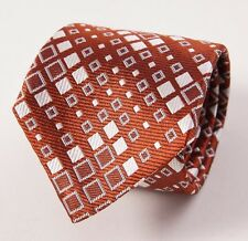 New SEAWARD & STEARN Rust Brown Diamond Check Silk Tie Handmade in England