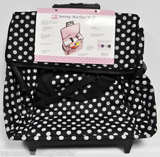 Sewing Machine Trolley Black and White Polka Dot