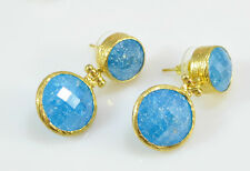 OttomanGems semi precious gemstone earrings gold ethnic crackle quartz handmade