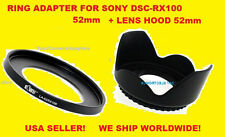 ADAPTER RING +FLOWER LENS HOOD TO CAMERA SONY DSC-RX100 RX100MII RX100MIII 52mm