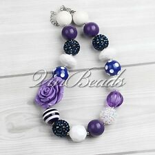 Spring Flower Voilet Purple Acrylic Chunky Bead Bubblegum Gumball Necklace 05