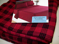 Cuddl Duds Heavyweight Cotton Red Buffalo Check Plaid Flannel King Sheet Set New