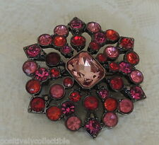 Estate Liz Claiborne Shades of Red Faceted Crystals Pin Brooch