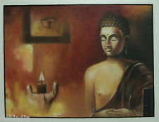 Gautama Buddha Meditation oil Canvas Painting EHS Handmade art Buddhism Religion