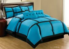 15 Piece Turquoise Black Patchwork Comforter + Curtain Set Full Size
