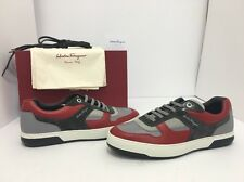 Salvatore Ferragamo Marat Sneakers Red Grey Men's Lace Up Shoes Size 44.5 / 10.5