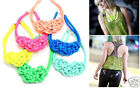 hot Pure Handmade Chunky Cotton Rope Knit Necklace Fluorescent Neon Color Punk