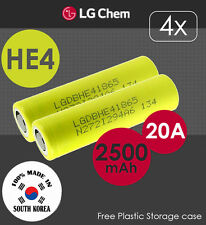 4x LG HE4 3.7V 2500mAh 20A Lithium Li-Ion 18650 Rechargeable Battery Flat Top