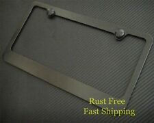 PLAIN BLACK METAL LICENSE PLATE FRAME+CAPS RUST FREE-Fits CHEVY HUMMER GMC MAZDA