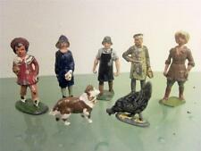 Lead Antique Toy Britains 7p Lot Land Girl,Woman,Baker,Worker,Collie Dog,Rooster