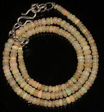 "45 Carat Natural Ethiopian Welo Fire Opal Genuine Necklace 3 to 4.5 mm 16"" Bead"