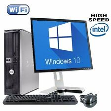 DELL Dual Core Desktop Tower PC e TFT Computer con Windows 10 WIFI UK Venditore