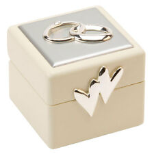 Beautiful Amore Double Wedding Ring Box Holder & Cushion. Two Hearts Weddings