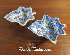 TWO Early Pearlware Blue & White Blue Willow Leaf Pickle Dishes Bowls 1 Caughley