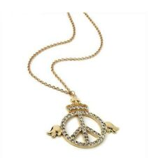 Long Gold Necklace Peace Sign and Angel wings