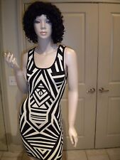 FOREVER 21 BLACK & TAN BODYCON SEXY KNIT SWEATER DRESS SMALL NWT