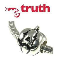 Genuine TRUTH PK 925 sterling silver PUMPKIN charm bead, Thanksgiving, Halloween