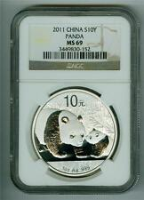 CHINA 2011 10 YUAN 1 OZ. .999 SILVER PANDA NGC MS-69 GEM BU WITH WHITE SPOTS