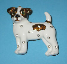 Jack Russell Terrier Pin Brooch Crystal Accents Dog White Brown Puppy New