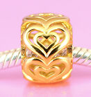 Vermeil GOLD over Solid Sterling Silver Sweet Love Heart BEAD For Charm Bracelet
