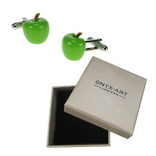 Mens ejecutivo gemelos Green Apple por Onyx Art