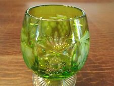 Nachtmann Traube Lime Green Cut to Clear Crystal Brandy Glass Original Sitcker