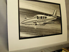 Piper Aztec  Airplane 1976  Exhibit Pencil Sketch by artist