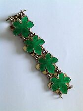 Fine Vintage Denmark Sterling Silver & Enamel ' Maple Leaf ' Panel Bracelet