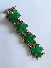 Fine Vintage Denmark Sterling Silver & Enamel ' Maple Leaf ' Panel Bracelet