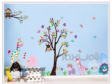 Large Monkey Owl Giraffe Tree Wall Decals Removable Sticker Kids Nursery Decor
