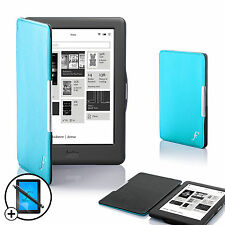 Cuir bleu smart shell case cover pour Kobo Glo HD ereader + screen prot stylet