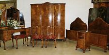 Antique Country French Claw Feet Burl Walnut Six Piece Bedroom Set Twin Beds