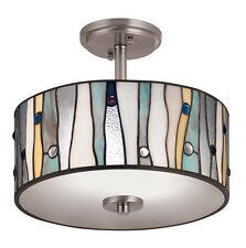 Tiffany Style Glass Shade Ceiling Lamp Semi Flush Mount Light Lighting Fixture