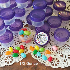 9 Clear Jars Purple Caps Small Plastic Containers 1Tblsp 1/2 oz  #3803 DecoJars