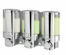 Chrome Wall Mount 3-Chamber Bathroom Shower Soap Shampoo Conditioner Dispenser