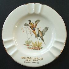 Scarce vintage ASHBY MINNESOTA - BORG DRUG ash tray w/pic PHEASANTS 22 kar. gold