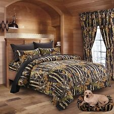 12 PC BLACK CAMO COMFORTER AND SHEETS CURTAINS QUEEN CAMOUFLAGE BEDDING WOODS