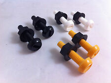 6 Pack Plastic Nylon Bolt & Nut Yellow White Black Number Plate Screws Cap Kit