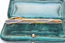 Vintage yellow metal tie clip in the art deco style #T347