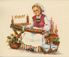 VINTAGE NORWEGIAN GIRL FOXGLOVE ANISE SEED COOKIES RECIPE PRINT 1 APPLE PIE CARD
