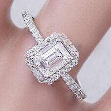 14k white gold emerald forever one moissanite and diamond engagement ring 1.50ct