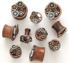 "1 Pair 1/2"" 12mm Brown Sono Steampunk Organic Wood Tunnels Ear Plugs Gauge 738"