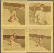 Lot of 4 Vintage Snapshot Photos Young Men in Swimsuits Gay Interest 729082