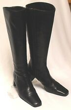 ANN TAYLOR Italy Size 6 M All Leather Black Med-Heel Side-Zip Knee High Boots