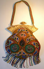 STUNNING VINTAGE ANTIQUE HANDBAG BEADED BAKELITE GALALITH JAPANESE EGYPTIAN BIRD