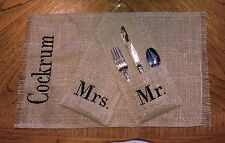 Burlap Placemats and Utensil Holder Set for Bride and Groom Wedding Reception