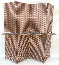 1X Classic Knitted Room Divider 4 Panels Folding Screen W/Holder